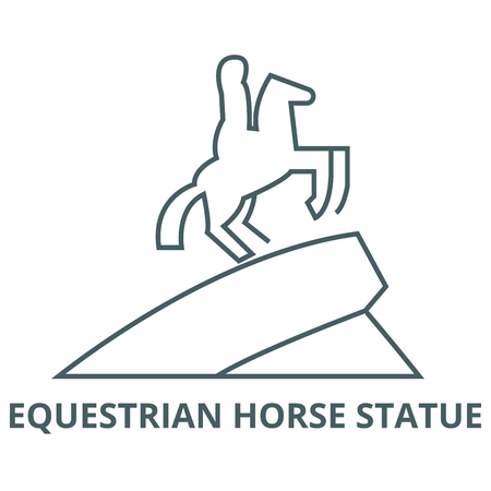 Equestrian horse statue line icon, vector. Equestrian horse statue outline sign, concept symbol, illustration