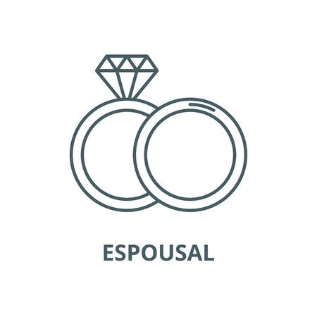 Espousal line icon, vector. Espousal outline sign, concept symbol, illustration