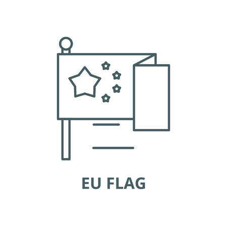 Eu flag line icon, vector. Eu flag outline sign, concept symbol, illustration Illustration