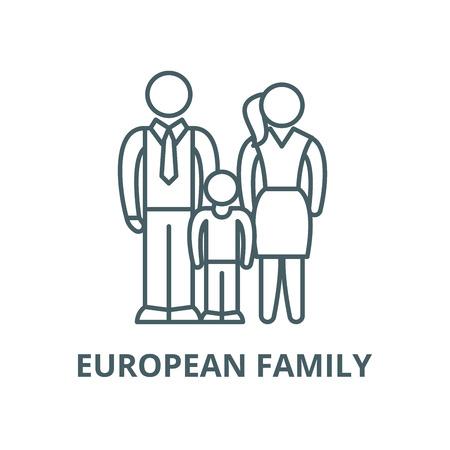European family line icon, vector. European family outline sign, concept symbol, illustration Çizim