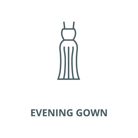 Evening gown line icon, vector. Evening gown outline sign, concept symbol, illustration