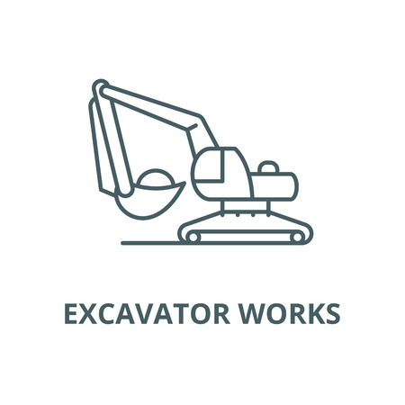 Excavator works line icon, vector. Excavator works outline sign, concept symbol, illustration
