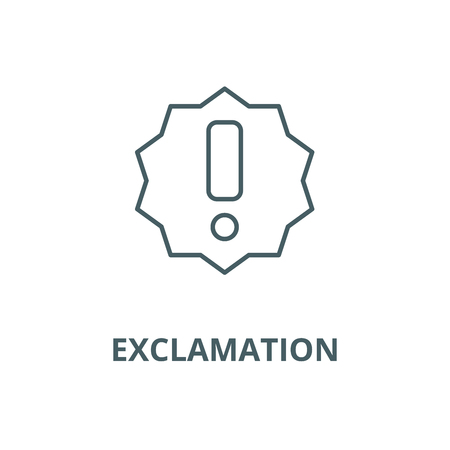 Exclamation line icon, vector. Exclamation outline sign, concept symbol, illustration Illustration