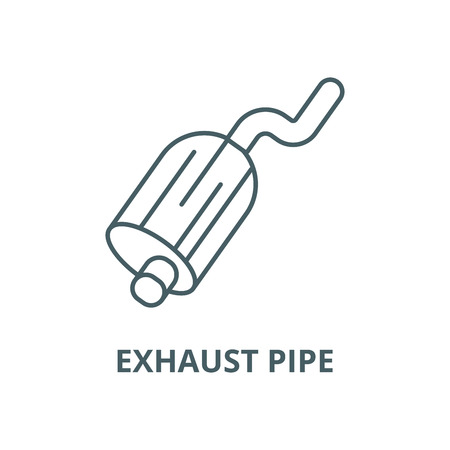 Exhaust pipe line icon, vector. Exhaust pipe outline sign, concept symbol, illustration