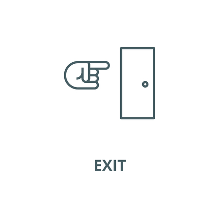 Exit line icon, vector. Exit outline sign, concept symbol, illustration