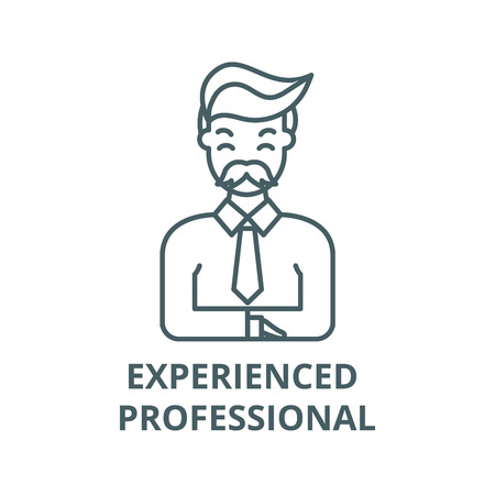 Experienced professional line icon, vector. Experienced professional outline sign, concept symbol, illustration Ilustração
