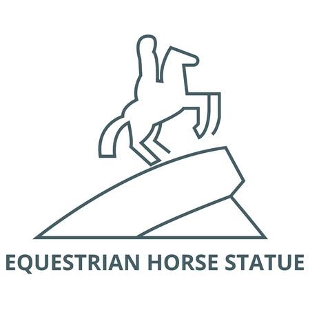 Equestrian horse statue line icon, vector. Equestrian horse statue outline sign, concept symbol, illustration