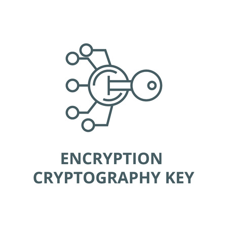 Encryption, cryptography key line icon, vector. Encryption, cryptography key outline sign, concept symbol, illustration Illustration
