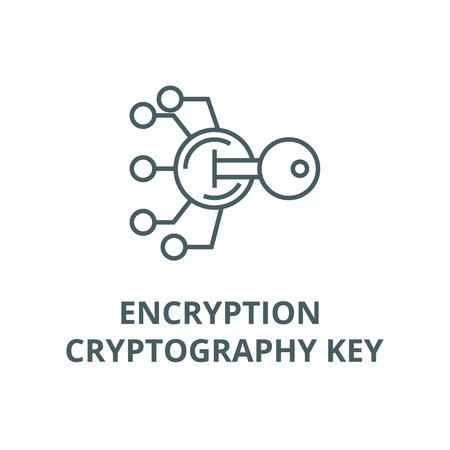 Verschlüsselung, Kryptographie-Schlüsselzeilensymbol, Vektor. Verschlüsselung, Kryptographieschlüsselumrisszeichen, Konzeptsymbol, Illustration