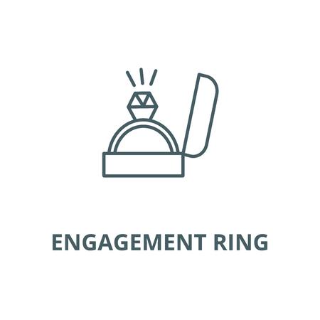 Engagement ring line icon, vector. Engagement ring outline sign, concept symbol, illustration 向量圖像