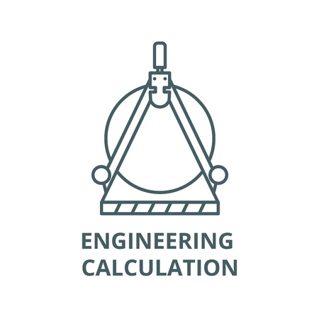 Engineering calculation line icon, vector. Engineering calculation outline sign, concept symbol, illustration Illustration
