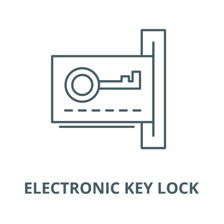 Electronic dook key lock line icon, vector. Electronic dook key lock outline sign, concept symbol, illustration