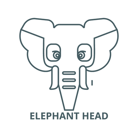 Elephant head line icon, vector. Elephant head outline sign, concept symbol, illustration
