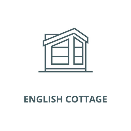 English cottage line icon, vector. English cottage outline sign, concept symbol, illustration Illustration