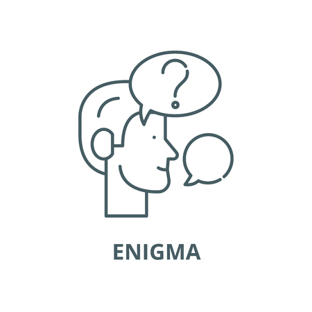 Enigma line icon, vector. Enigma outline sign, concept symbol, illustration Imagens - 120715506