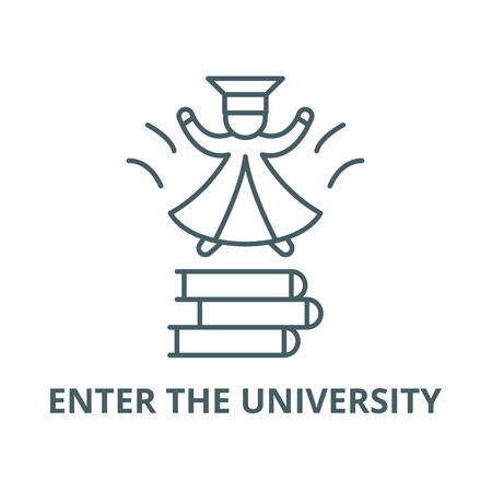 Enter the university line icon, vector. Enter the university outline sign, concept symbol, illustration Stok Fotoğraf - 123716201