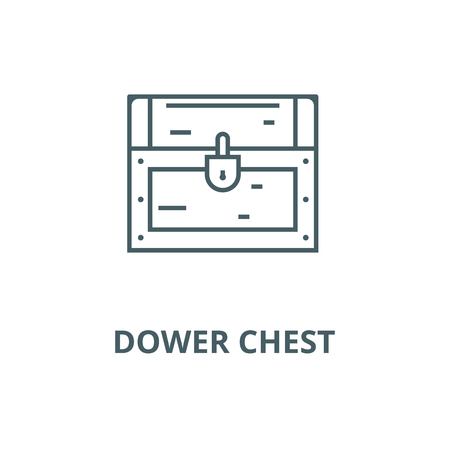 Dower chest line icon, vector. Dower chest outline sign, concept symbol, illustration