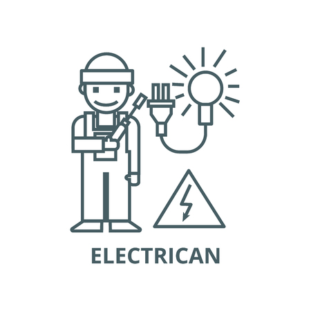 Electrican line icon, vector. Electrican outline sign, concept symbol, illustration
