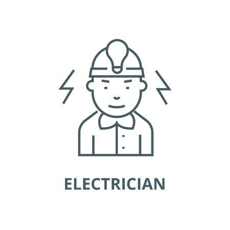 Electrician line icon, vector. Electrician outline sign, concept symbol, illustration Ilustrace