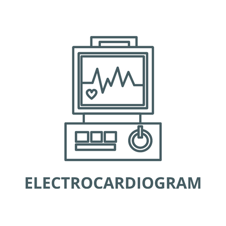 Electrocardiogram,heart analyse line icon, vector. Electrocardiogram,heart analyse outline sign, concept symbol, illustration Illustration