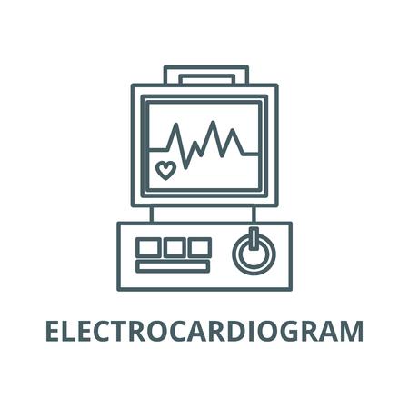 Electrocardiogram,heart analyse line icon, vector. Electrocardiogram,heart analyse outline sign, concept symbol, illustration Illustration