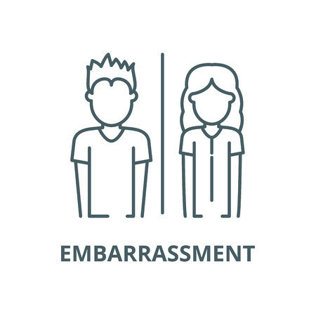 Embarrassment line icon, vector. Embarrassment outline sign, concept symbol, illustration Иллюстрация