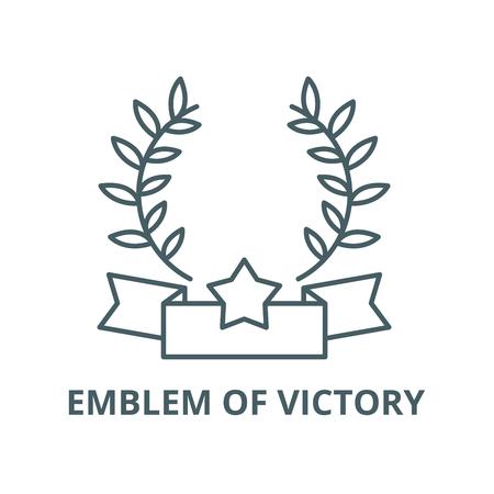 Emblem of victory line icon, vector. Emblem of victory outline sign, concept symbol, illustration