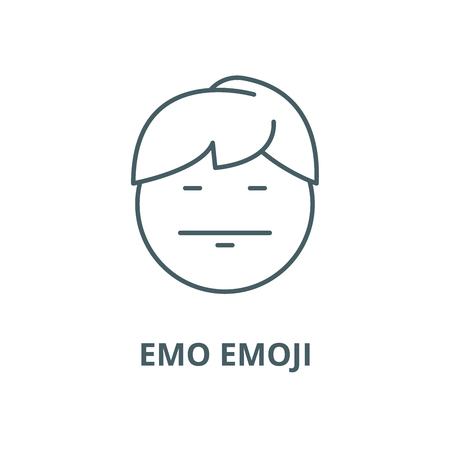 Emo emoji line icon, vector. Emo emoji outline sign, concept symbol, illustration