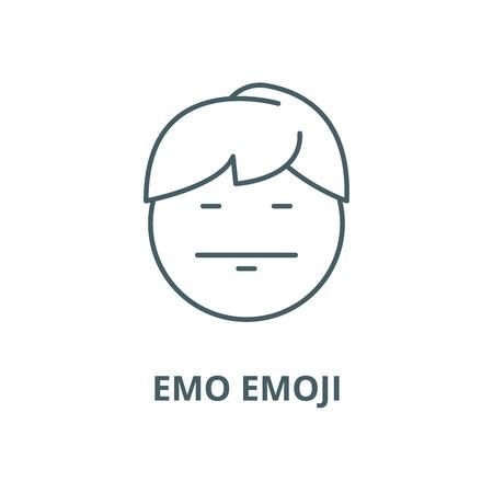 Emo emoji line icon, vector. Emo emoji outline sign, concept symbol, illustration