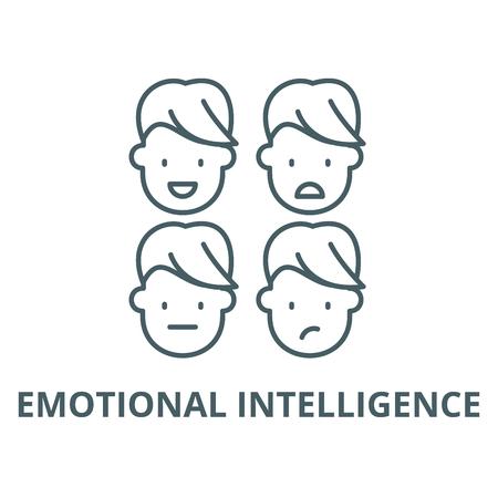 Icono de línea de inteligencia emocional, vector. Signo de esquema de inteligencia emocional, símbolo conceptual, Ilustración