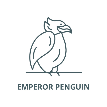 Emperor penguin line icon, vector. Emperor penguin outline sign, concept symbol, illustration
