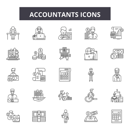 Accountants line icons, signs set, vector. Accountants outline concept illustration: accountant,business,accounting,finance,money,calculator,financial,office Standard-Bild - 120892335