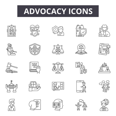 Advocacy line icons, signs set, vector. Advocacy outline concept illustration: advocacy,business,concept,deadvocate,law,court,idea
