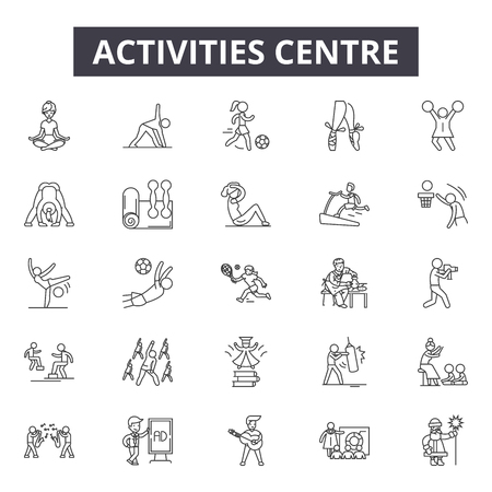 Activities centre line icons, signs set, vector. Activities centre outline concept illustration: center,activity,health,sport,equipment,gym,exercise,fitness