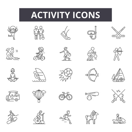 Activity line icons, signs set, vector. Activity outline concept illustration: activity,sport,man