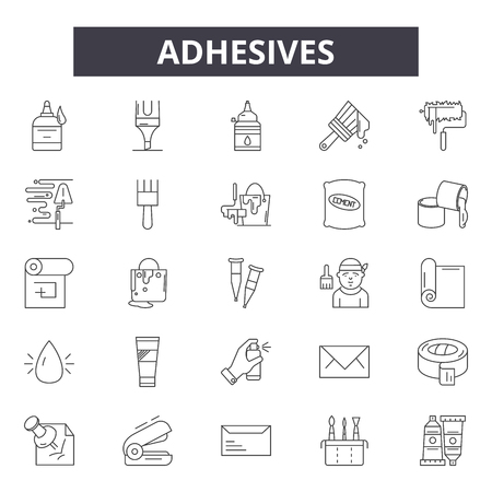 Adhesives line icons, signs set, vector. Adhesives outline concept illustration: adhesive,isolated,deblack,white Banque d'images - 120892350