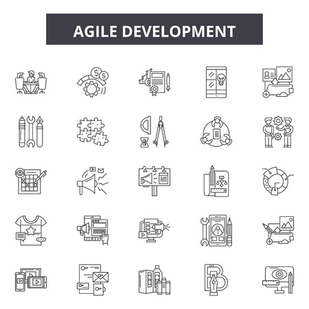 Agile development line icons, signs set, vector. Agile development outline concept illustration: agile,development,business,scrum,quality,software 矢量图像