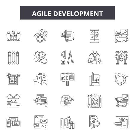 Agile development line icons, signs set, vector. Agile development outline concept illustration: agile,development,business,scrum,quality,software Illustration