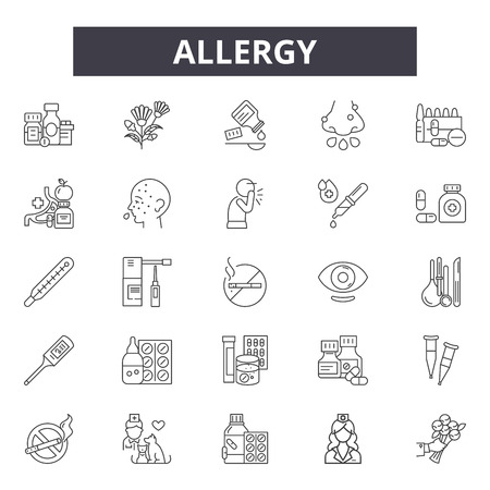 Allergy line icons, signs set, vector. Allergy outline concept illustration: allergy,food,health,lactose,wheat,symbol