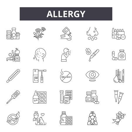 Icone della linea di allergia, set di segni, vettore. Illustrazione del concetto di contorno di allergia: allergia, cibo, salute, lattosio, grano, simbolo