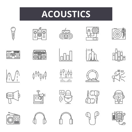 Acoustics line icons, signs set, vector. Acoustics outline concept illustration: sound,acoustic,audio,music,volume,design Banco de Imagens - 120892364