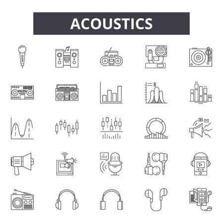 Acoustics line icons, signs set, vector. Acoustics outline concept illustration: sound,acoustic,audio,music,volume,design