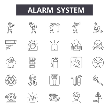 Alarms system line icons, signs set, vector. Alarms ystem outline concept, illustration: security,alarm,system,safety,protection,set Stock Vector - 123581872