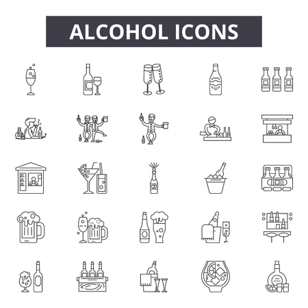 Alcohol line icons, signs set, vector. Alcohol outline concept illustration: glass,alcohol,wine,beverage,bottle,drink,isolated
