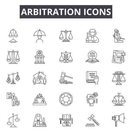 Arbitration line icons, signs set, vector. Arbitration outline concept illustration: legal,law,justice,court,lawyer,gavel,judge