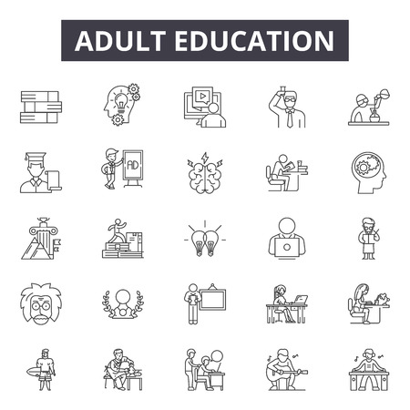 Adult education line icons, signs set, vector. Adult education outline concept illustration: adult,education,university,study,school,learning,knowledge