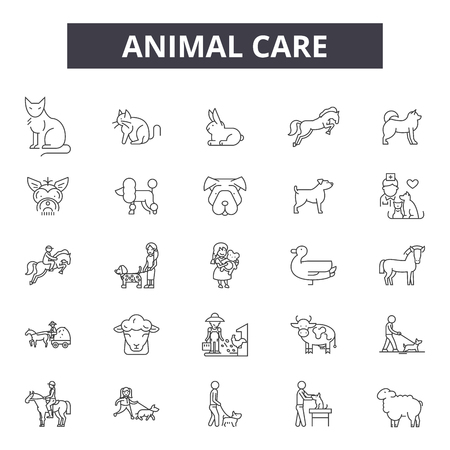 Animal care line icons, signs set, vector. Animal care outline concept illustration: care,animal,dog,pet,cat