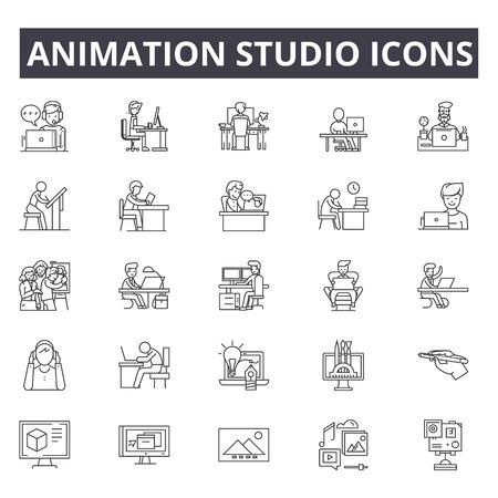 Animation studio line icons, signs set, vector. Animation studio outline concept illustration: animation,studio,video,defilm,camera,flat,digital Illustration