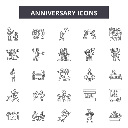 Anniversary line icons, signs set, vector. Anniversary outline concept illustration: anniversary,celebration,birthday,decoration,design