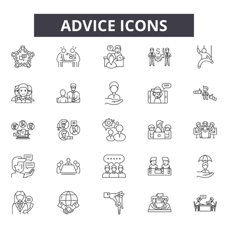 Advice line icons, signs set, vector. Advice outline concept illustration: advice,internet,information,chat,concept,support,symbol